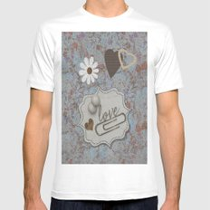 Vintage Hearts and Flowers with Love Mens Fitted Tee MEDIUM White