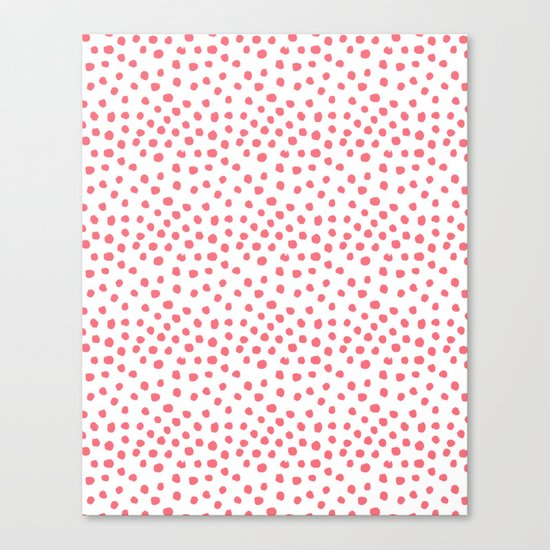 Coral dots pattern minimal painted polka dots Canvas Print