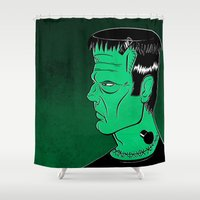 frankenstein Shower Curtains featuring Frankenstein by JoanaRosaC