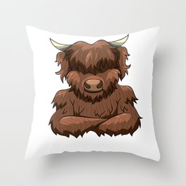 Bodybuilder Highland Cow Strongman Heilan Cattle Throw Pillow