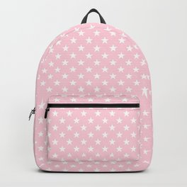 White Stars on Soft Pastel Pink Backpack