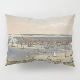 Vintage Pictorial Map of New York City (1848) Pillow Sham