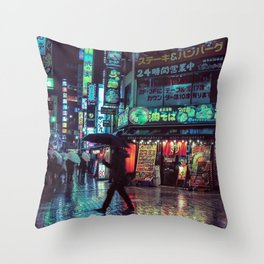 Tokyo Nights / Blade Runner Vibes / Rain / Liam Wong Throw Pillow