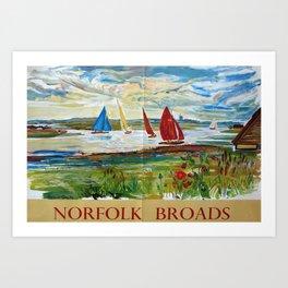 retro Norfolk Broads Art Print