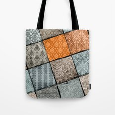 Vintage Material Quilt Tote Bag