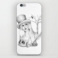edgar allan poe iPhone & iPod Skins featuring Mrs. Edgar Allan Poe by Rene Robinson