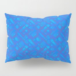 Stylish design with interlaced circles and light blue rectangles of stripes. Pillow Sham
