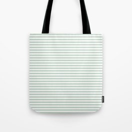 Mattress Ticking Narrow Horizontal Striped Pattern in Moss Green and White Tote Bag