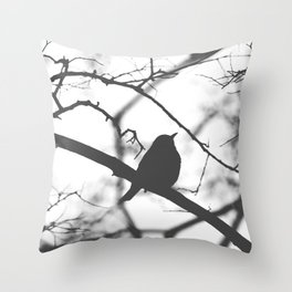 Little Bird on Branch Silhouette Black and White Photography Throw Pillow