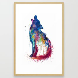 Howling Wolf Watercolor Silhouette Framed Art Print