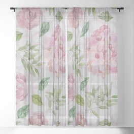 Summer blush pink raven green watercolor floral Sheer Curtain