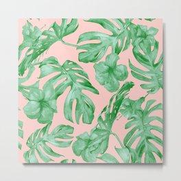 Island Life Coral Pink + Green Metal Print