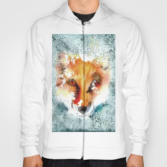 Wild wild Fox - Animal in the forest- watercolor illustration Hoody