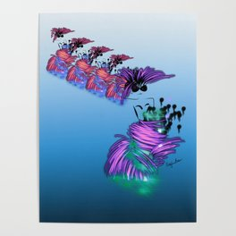 Fashion models dancing in colorful party dr Poster