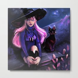 starry night , witch and the cat Metal Print