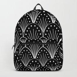 linocut 20s art deco pattern minimal black and white printmaking art Backpack