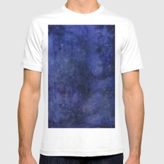 Galaxy Watercolor Nebula Texture Night Sky Stars MEDIUM Mens Fitted Tee White