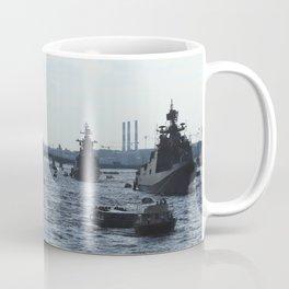 Huge water traffic on Neva River. Many passenger boats with Russian Navy Battleships and submarine. Coffee Mug