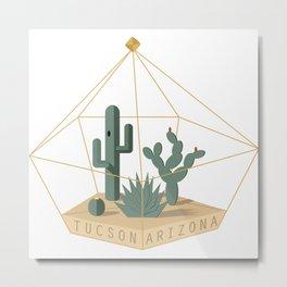 Tucson Arizona Cactus Terrarium Metal Print