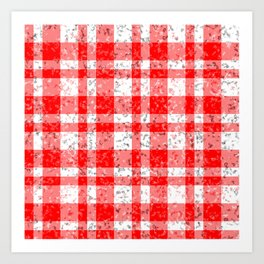 Red White Patchy Marble Tartan Pattern Art Print