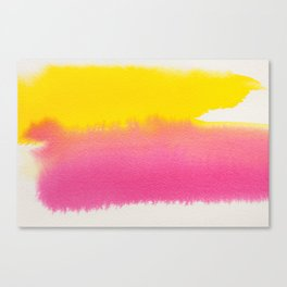 MINIMAL YELLOW + PINK LAYERED WATERCOLOUR CONTRAST Canvas Print