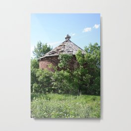 Brick Corn Crib Metal Print