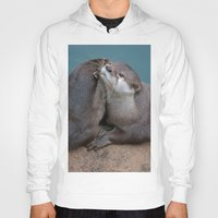 otters Hoodies featuring Big Hugs by Fran Walding