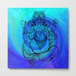 Lord Ganesha on Blue Spiral Metal Print