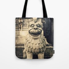 Pigeon over old statue Tote Bag