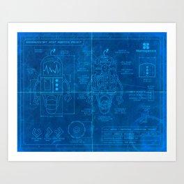 Robot Blueprint Art Print