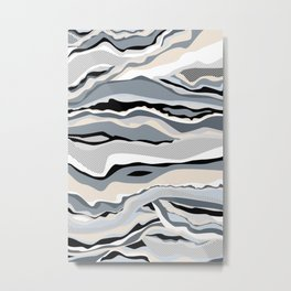 Black and white scandinavian minimal line pattern Metal Print