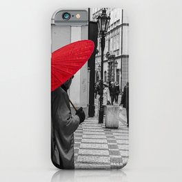 The Red Umbrella cityscape black and white photograph / art photography iPhone Case