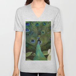 Peacock and Magnolia I Unisex V-Neck