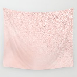 She Sparkles Rose Gold Pastel Light Pink Luxe Wall Tapestry