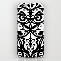wall clock iPhone & iPod Skins featuring Folk Art wall clock by Laura Barrett