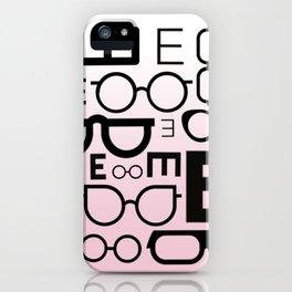 Eye Chart Eyeglasses Pink and Black iPhone Case
