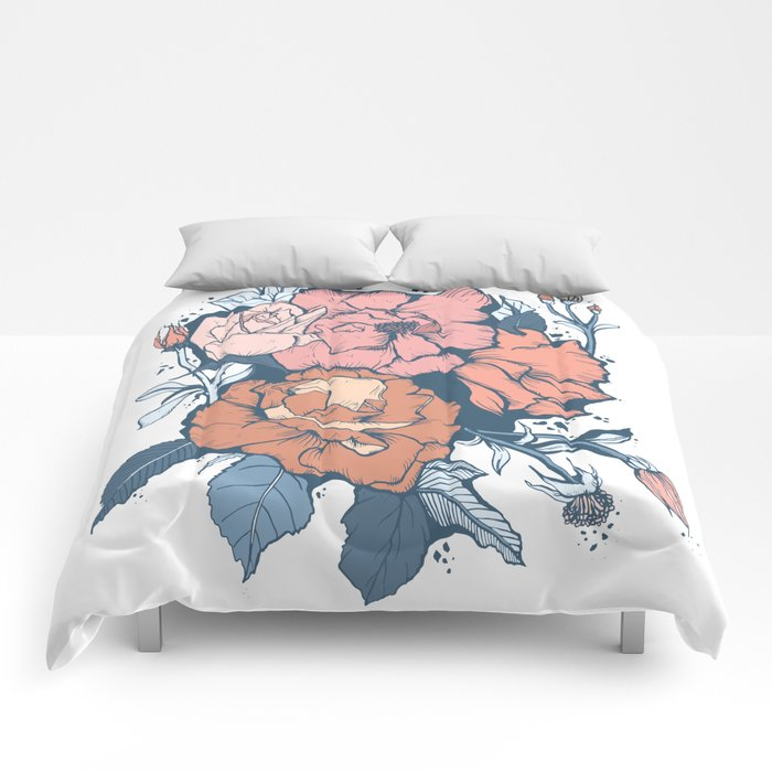 Rose Garden - Orange & Blue Comforters
