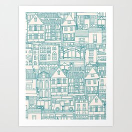 cafe buildings blue Art Print