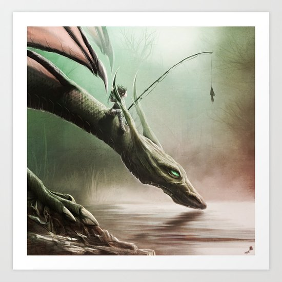Fishing On The Drinking Dragon Art Print