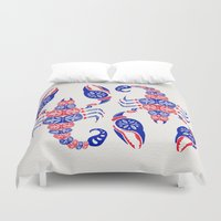 patriotic Duvet Covers featuring Patriotic Scorpion by Cat Coquillette
