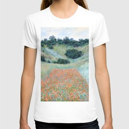 Poppy Field in a Hollow near Giverny by Claude Monet 1885 T-shirt
