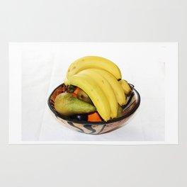 Fruit in a Wooden Bowl, Banana, orange, Pear, Plum Rug