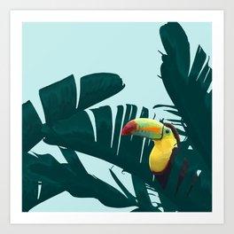 Green Toucan Tropical Banana Leaves Pattern Art Print