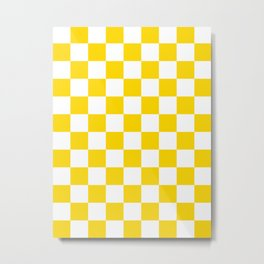 Checkered - White and Gold Yellow Metal Print