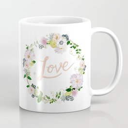 Love Pink Flower Wreath Coffee Mug