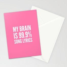 My Brain is 99.9% Song Lyrics (Light Pink) Stationery Cards