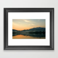 The Lake at Sunset, Kyoto Japan Framed Art Print