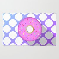 doughnut Area & Throw Rugs featuring DONUT DONUT DOUGHNUT!! by anthonykun