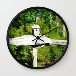 Rustic Knotted Pine Wood Fence Birdhouse Yard Art Wall Clock