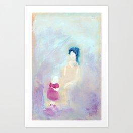 Mom and daughter. Art Print